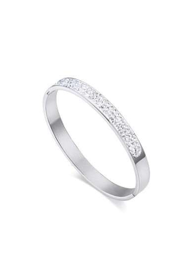 Exquisite Geometric Shaped Rhinestones Stainless Steel Bangle