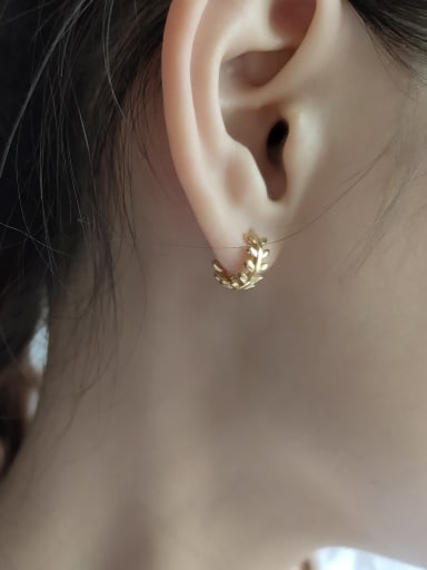925 Sterling Silver With Gold Plated Personality Leaf Stud Earrings