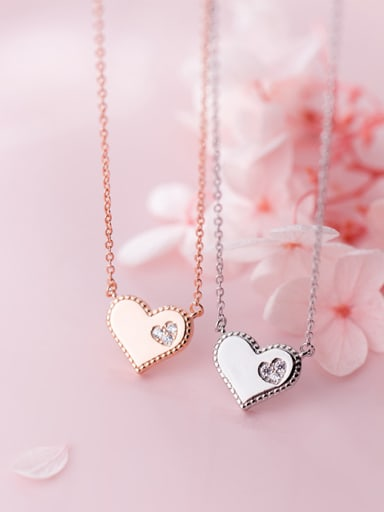 925 Sterling Silver With Silver Plated Personality Heart Necklaces