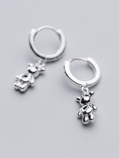 925 Sterling Silver With Silver Plated Cute Bear Clip On Earrings