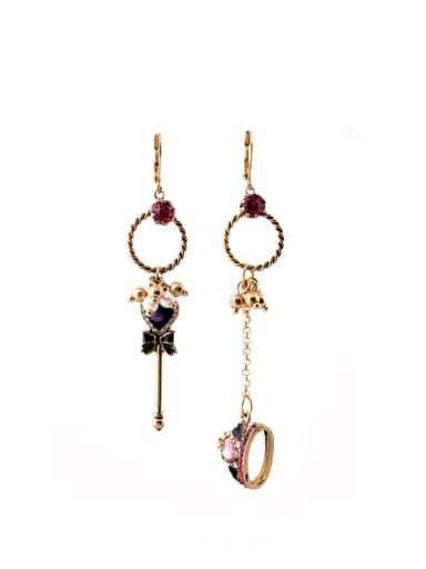 Alloy Western Style Asymmetric Crown Rhinestones drop earring