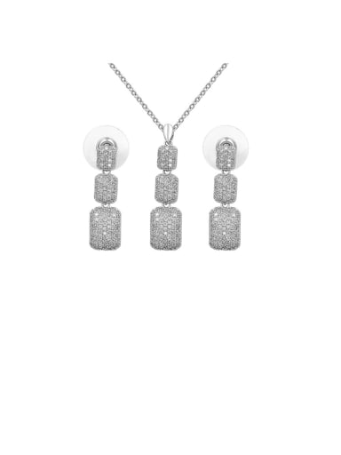 Copper With  Cubic Zirconia  Personality Square Pendant  Earrings And Necklaces  2 Piece Jewelry Set