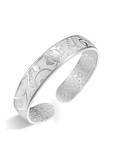Classical 999 Silver Flowery Patterns-etched Opening Bangle