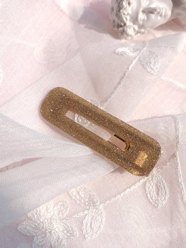 Square - Flash gold Alloy With Cellulose Acetate  Fashion Acrylic Water Droplet Square  Barrettes & Clips