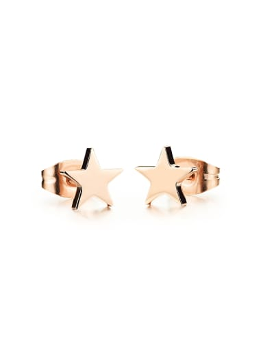 Simple Tiny Star Rose Gold Plated Titanium Stud Earring
