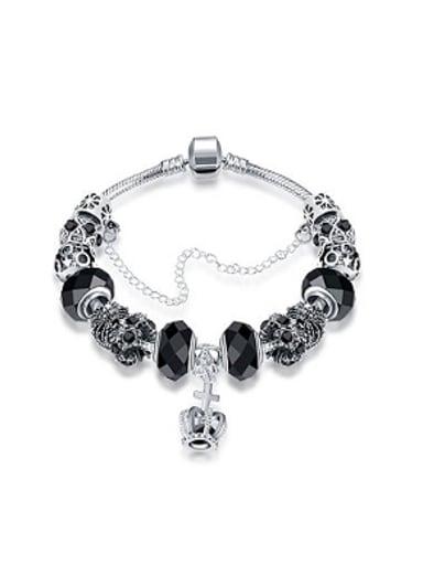 Retro Decorations Crown Glass Beads Bracelet