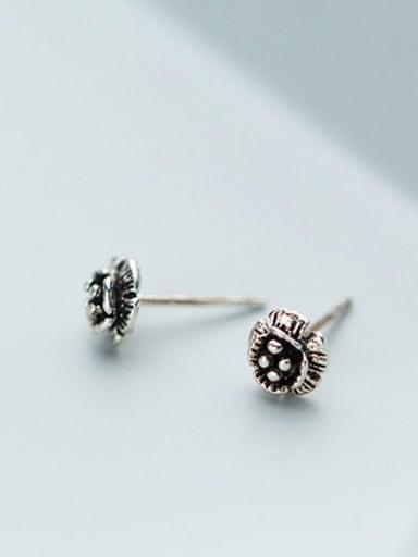Vintage Flower Shaped S925 Silver Stud Earrings