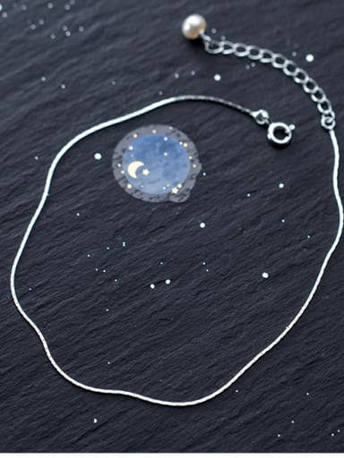 925 Sterling Silver With Platinum Plated Simplistic Round Anklets