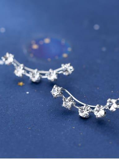925 Sterling Silver With Cubic Zirconia Personality Full Diamond  Pentagram  Stud Earrings