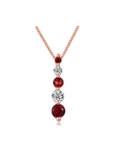 Luxury Long Rounds Garnet Zircon Silver Necklace
