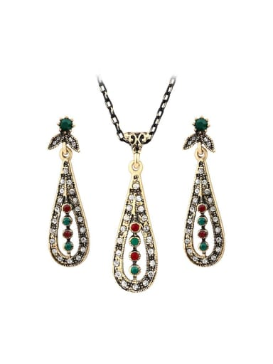 Bohemia style Cubic Resin stones White Crystals Alloy Two Pieces Jewelry Set