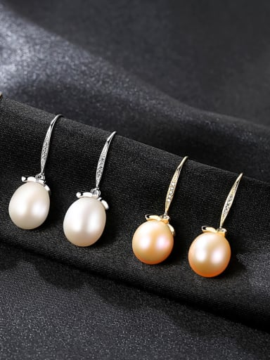 Sterling Silver Plated 18K Gold Natural Freshwater Pearl Earrings