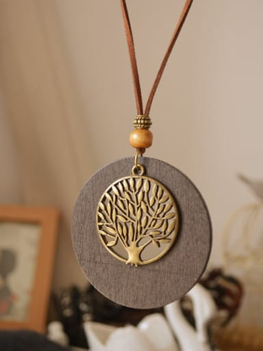 All-match Wooden Round Shaped Tree Necklace