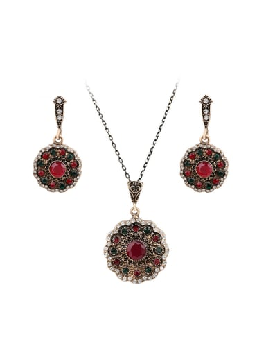 Retro style Red Resin stones White Crystals Flowery Two Pieces Jewelry Set