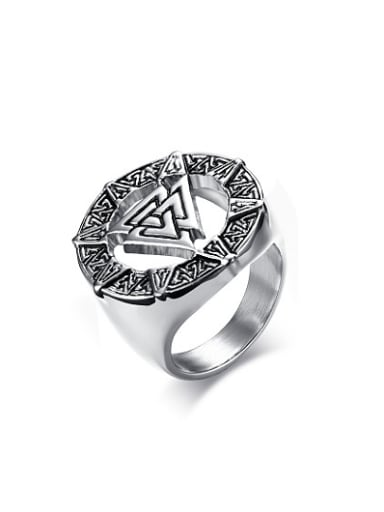 Fashionable Geometric Shaped Stainless Steel Men Ring
