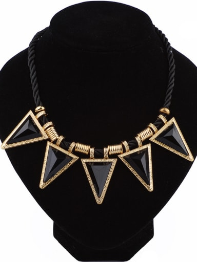 Punk style Black Acrylic Triangles Pendant Gold Plated Necklace