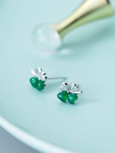 Elegant Green Clover Shaped Carnelian Stud Earrings