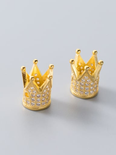 Thai Silver With 18k Gold Plated Luxury Crown Charms