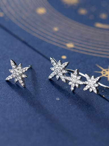 925 Sterling Silver With Platinum Plated Fashion Asymmetry Snowflake Stud Earrings
