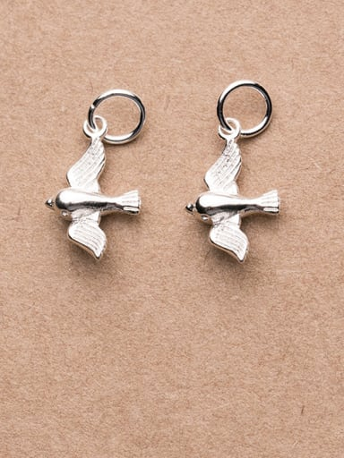 925 Sterling Silver With Platinum Plated Cute bird pigeon Charms