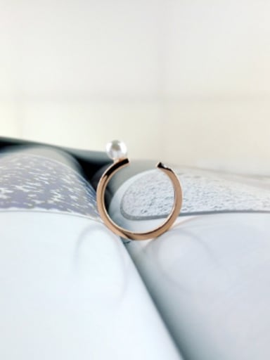 Artificial Pearl Opening Fashion Ring