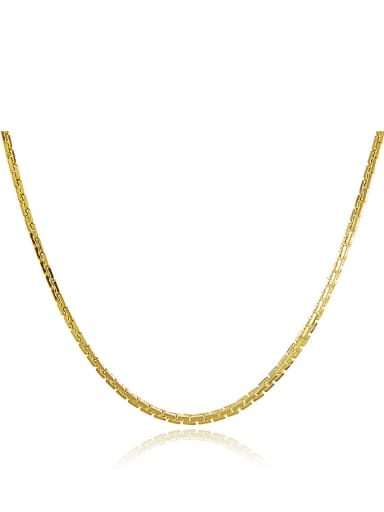 Fashion Style 24K Gold Plated Geometric Shaped Copper Necklace