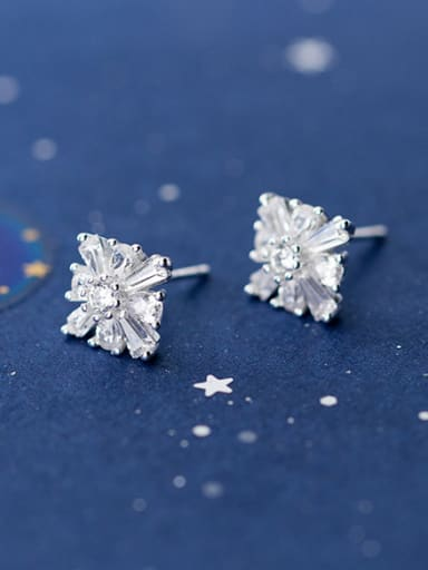 925 Sterling Silver With Platinum Plated Simplistic  Square Flower Stud Earrings