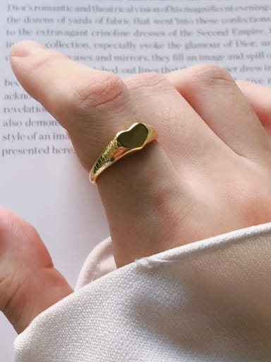 925 Sterling Silver With Gold Plated Simplistic Heart Free Size Rings