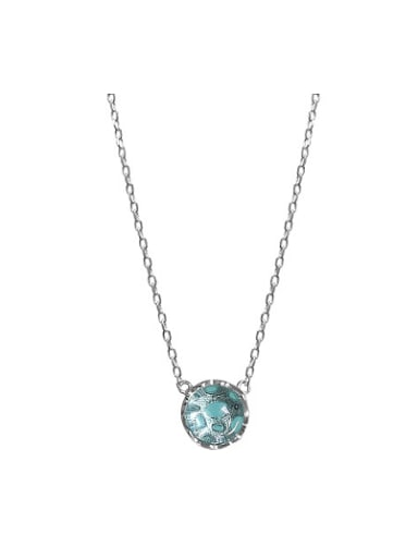 Round Green Stone Silver Necklace