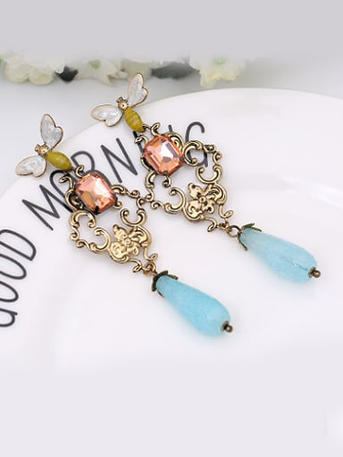 Women All-match Dragonfly Shaped Glass Earrings