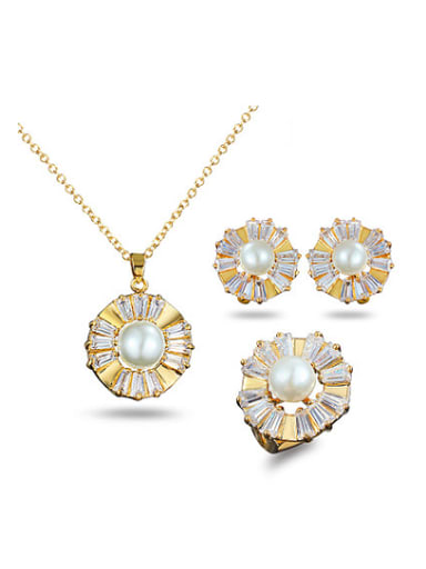Noble 18K Gold Plated Flower Artificial Pearl Three Pieces Jewelry Set