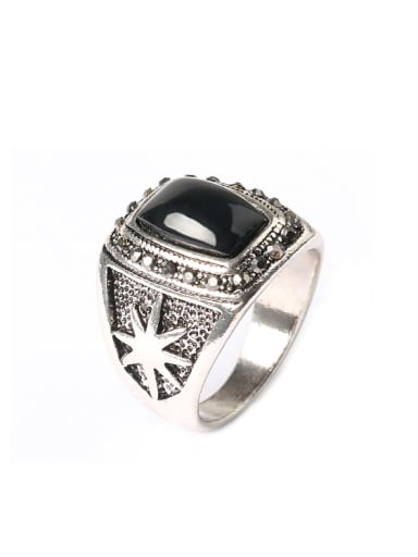 Punk style Black Resin Antique Silver Plated Alloy Ring