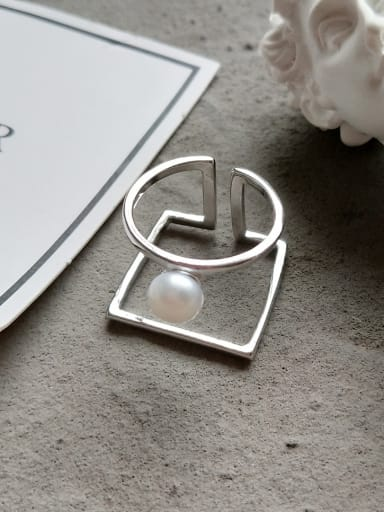 Sterling silver double layer synthetic pearl ring