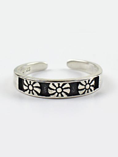 Fashion style Little Flowers Black Silver Opening Ring
