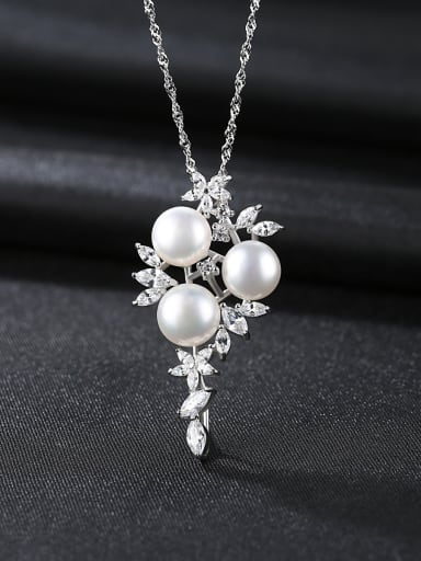 Sterling silver natural freshwater pearls boutique jewelry necklace