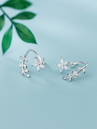 925 Sterling Silver With Platinum Plated Cute Star Stud Earrings