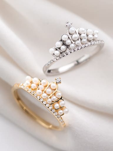 925 Sterling Silver With Gold Plated Cute Crown Free size Rings