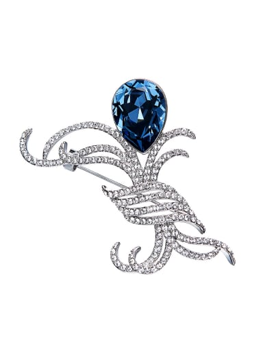 Blue Swarovski Crystal Brooch