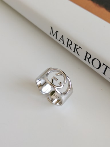 925 Sterling Silver With Platinum Plated Simplistic Monogrammed-G Rings