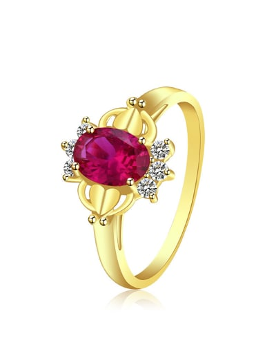 Copper Alloy 24K Gold Plated Artificial Gemstone Zircon Women Ring