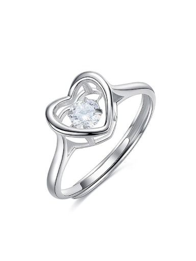 Fashion Cubic Rotational Zircon Heart 925 Silver Ring