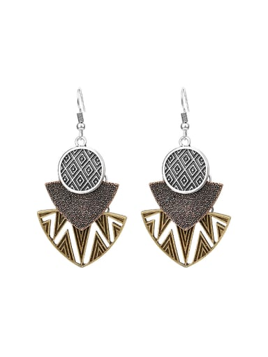 Vintage Exaggerated style Three Color Plated Alloy Drop Earrings