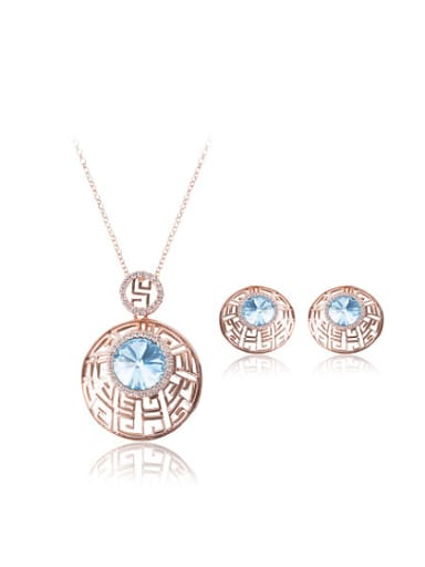 Alloy Rose Gold Plated Vintage style Artificial Stone Hollow Two Pieces Jewelry Set