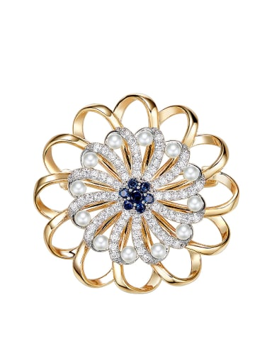 Fashion Flower Zircon Imitation Pearls Brooch