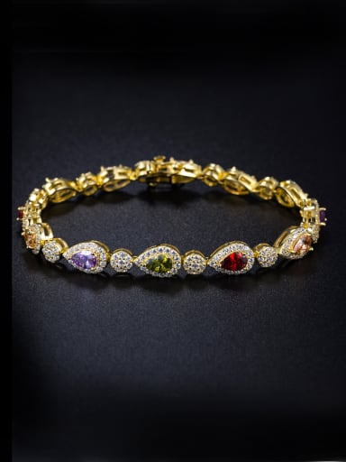 Micro-inlay zircon water-drop colorful Bracelet