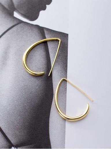 925 Sterling Silver With Glossy Simplistic Hook Hook Earrings