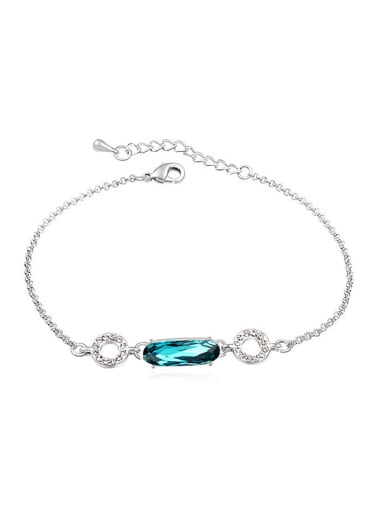 Simple Oval Swarovski Crystal Hollow Round Alloy Bracelet