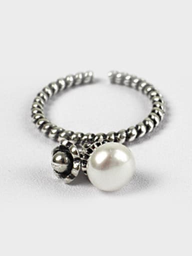 Retro style White Freshwater Pearl Black Twisted Band Opening Ring