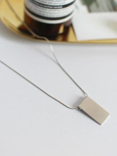 Simple Smooth Rectangular Pendant Silver Necklace