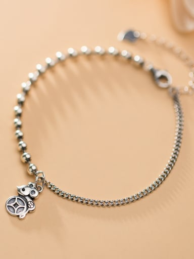 925 Sterling Silver With Platinum Plated Simplistic Mouse Pendant Beaded  Bracelets